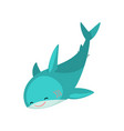 cute friendly blue shark cartoon character vector image vector image