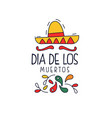 dia de los muertos logo traditional day of the vector image vector image