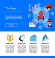 flat theatre icons landing page template vector image