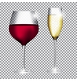 Glass of Champagne and Wine on Transparent vector image vector image