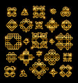 Golden celtic knots with shiny elements isolated