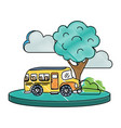 grated school bus in the city with clouds and tree vector image vector image