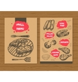 Grill menu template Ready design BBQ menu for vector image