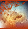 grunge design with butterflies vector image