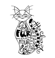 hand drawn lettering with cat silhouette vector image vector image