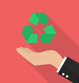 Hand holding recycle icon vector image vector image