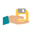 hand with floppy disk vector image vector image
