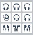 headphones icon set in glyph style vector image