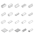 Metal Icon Thin Line Set vector image