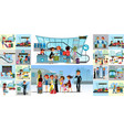 people in airport flat color icons set of pilot vector image vector image