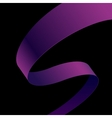 Purple fabric curved ribbon on black background vector image vector image