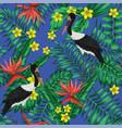 realistic crane tropical jungle blue background vector image vector image