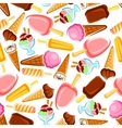 Retro seamless ice cream and popsicles pattern vector image