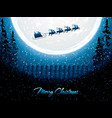 santa claus rides in a reindeer sleigh vector image vector image