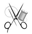 scissors thread needle symbol vector image vector image