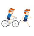 set hipster funny sportsmen cycling and running vector image
