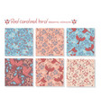 set seamless patterns with red cardinal birds vector image