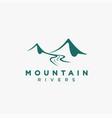 simple mountain river landscape logo icon vector image vector image