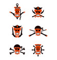 skull sea tribal tattoo set vector image vector image