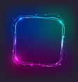 square neon light banner with free space for text vector image