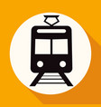 train icon on white circle with a long shadow vector image