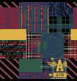 vintage american college athletic tartan patchwork vector image vector image