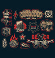 vintage beer elements colorful collection vector image