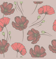 vintage poppies seamless hand drawn pattern vector image