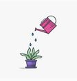 watering can and flower pot vector image vector image