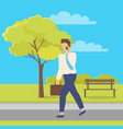 worker character going on road in park vector image vector image