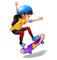 A young girl skateboarding vector image vector image