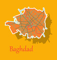 baghdad city map - iraq sticker isolated on vector image vector image