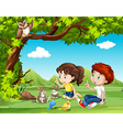 Boy and girl sitting under the tree vector image vector image