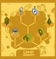 Camp color concept isometric icons