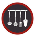 circular frame with spoons frying set and spatulas vector image vector image