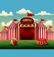 classic red white circus tent with decorative sign vector image vector image
