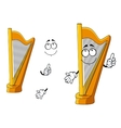 Classic wooden musical cartoon harp character vector image vector image