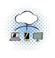 Cloud-computing connection comics icon vector image vector image