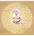 coffee label over circle ornamental vintage backgr vector image vector image