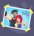 couple selfie romantic self portrait young vector image