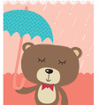 cute bear in rain vector image vector image