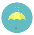 cute flat yellow umbrella icon with rain drops vector image vector image