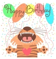 Cute happy birthday card with funny tiger vector image vector image