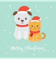 cute puppy and kitten for christmas posterflat vector image