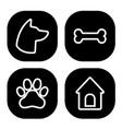 dog square icons set dog head paw bone dog vector image vector image