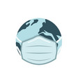 earh globe in medical face mask vector image vector image