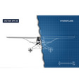 engineering blueprint of plane top view vector image vector image