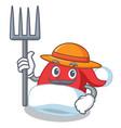 farmer christmas hat character cartoon vector image