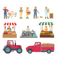 farmers working and selling vector image