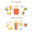 Fruit And Protein Smoothies Infographic Recipe vector image